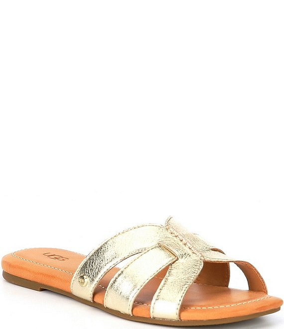 Color:Gold Metallic - Image 1 - UGG® Teague Leather Sandals