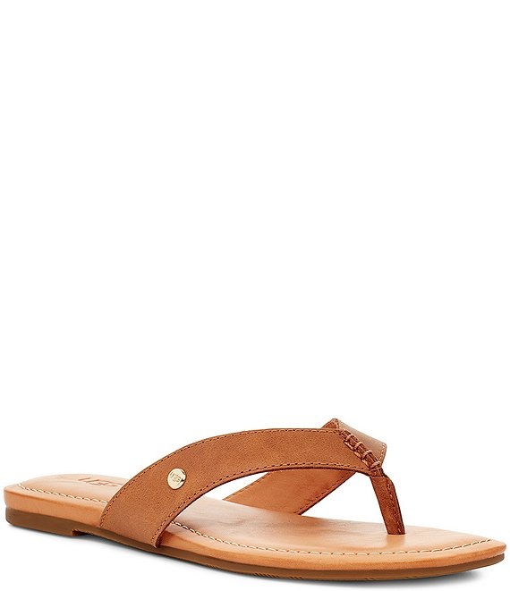 Color:Almond - Image 1 - UGG® Tuolumne Leather Flip Flops