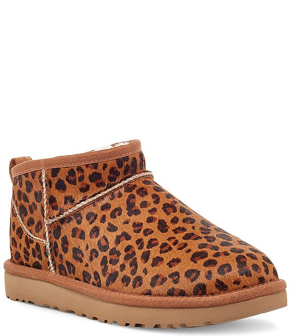 Color:Natural - Image 1 - UGG® Ultra Mini Leopard Print Calf Hair Boots