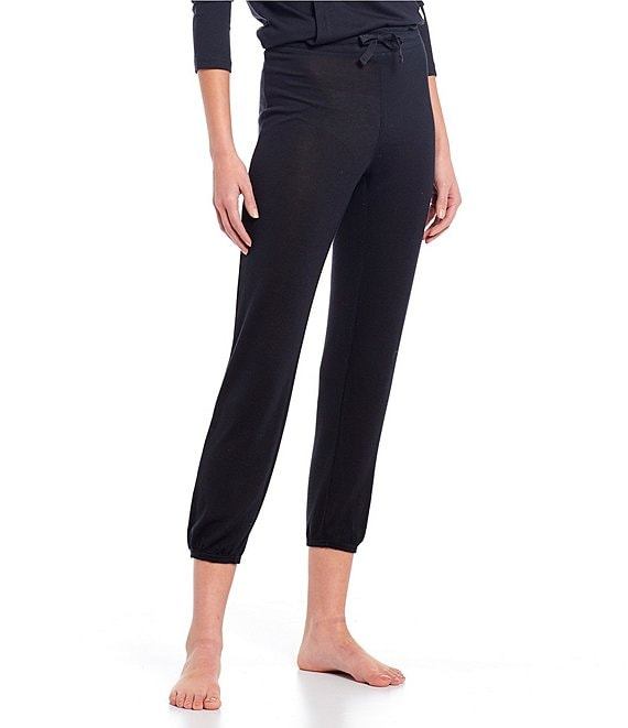 Color:Black - Image 1 - Valentene Solid Terry Knit Jogger Lounge Pants