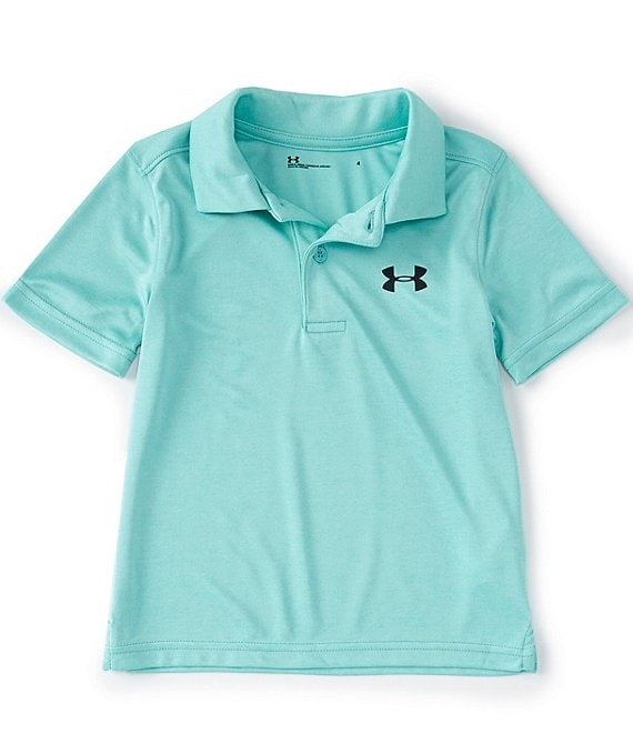 Color:Radial Turquoise/Aqua Float/Midnight Turquoise - Image 1 - Little Boys 2T-7 Short Sleeve UA Matchplay Twist Polo Shirt