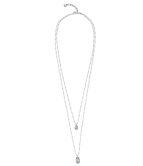 Color:Silver/Green - Image 1 - Wish 2-Row Necklace