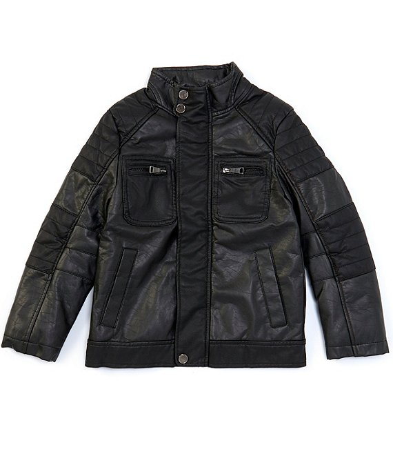 Color:Black - Image 1 - Little Boys 2T-7 Faux-Leather Motorcycle Jacket