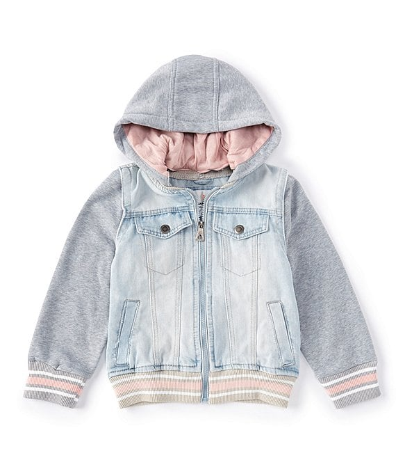 Color:Light Wash - Image 1 - Little Girls 4-6X Denim Bomber Two-Fer Jacket