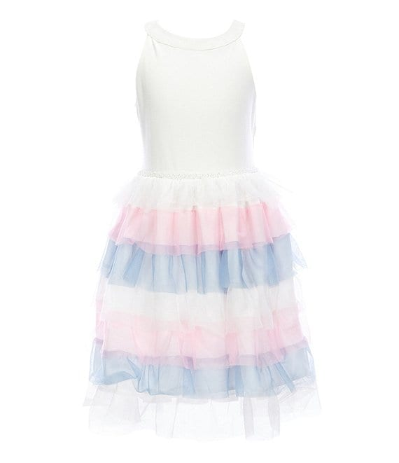 Color:Ivory - Image 1 - Big Girls 7-16 Scuba/Tiered-Mesh A-Line Dress