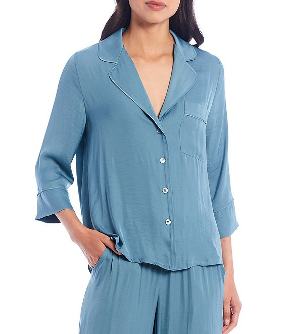 Color:Smoke Blue - Image 1 - Solid Satin Button-Front Sleep Shirt