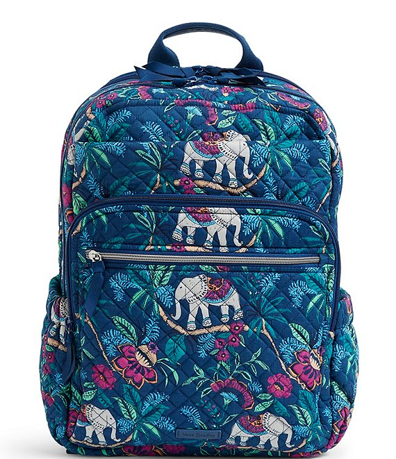 Color:Kerala Elephants - Image 1 - Iconic XL Campus Quilted Backpack