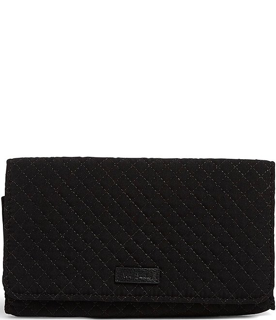 Color:Classic Black - Image 1 - Microfiber Collection RFID Trifold Wallet