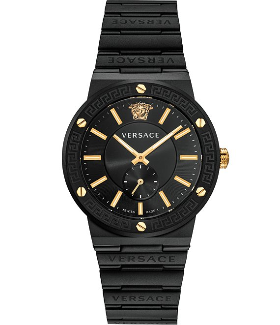 Color:Black - Image 1 - Men's Greca Logo Black IP Link Watch