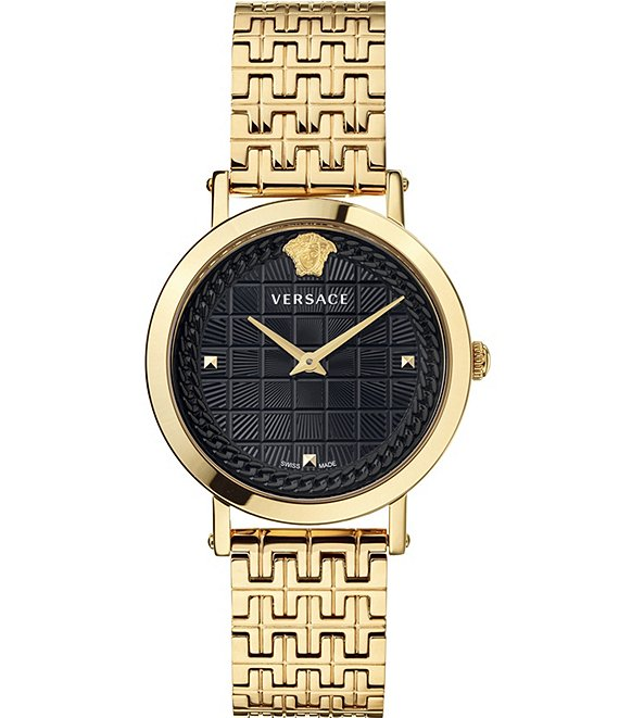 Color:Gold - Image 1 - Women's Coin Icon Gold Bracelet Watch
