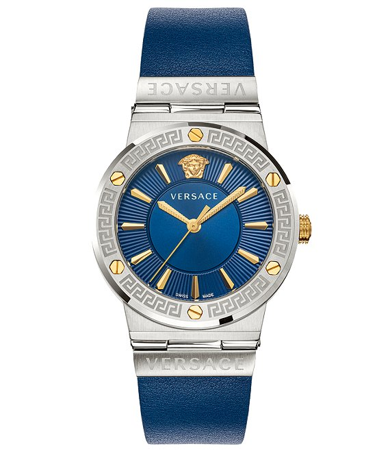 Color:Blue - Image 1 - Women's Greca Logo Blue Leather Watch