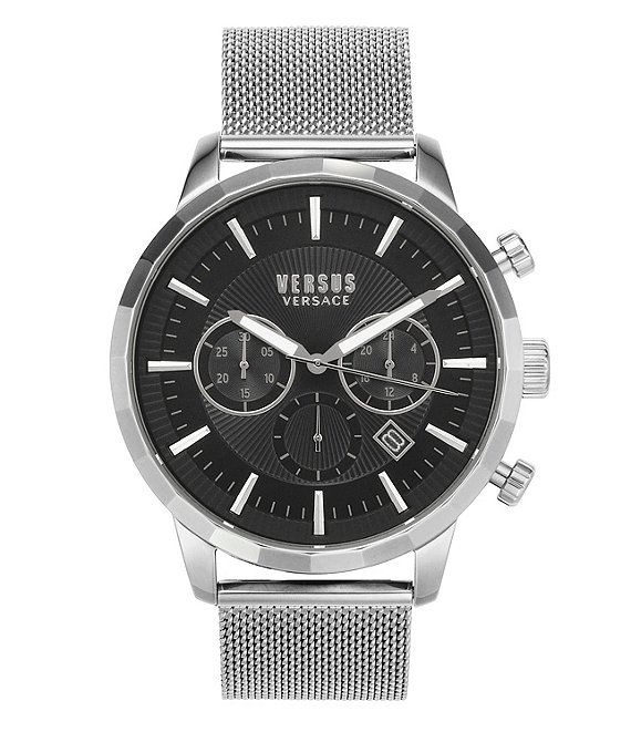 Color:Silver - Image 1 - Eugene Quartz Chronograph Silver Mesh Bracelet Watch
