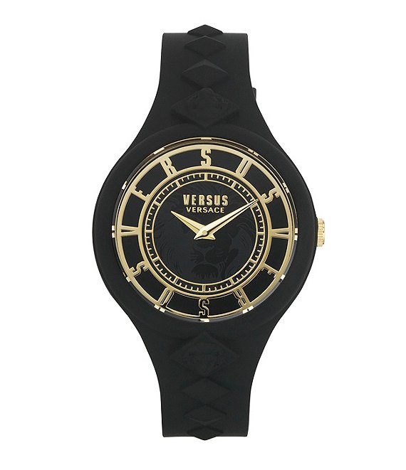 Color:Black - Image 1 - Versus By Versace Women's Fire Island Black Silicone Watch