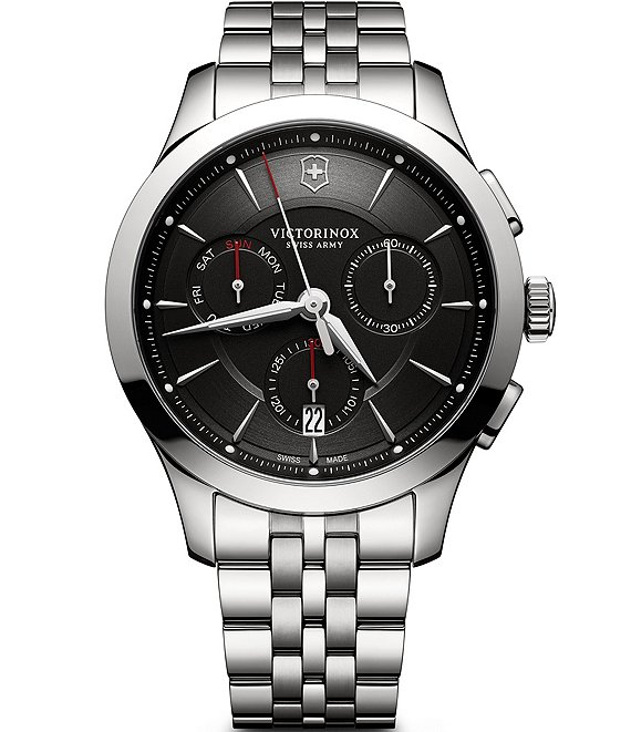 Color:Silver - Image 1 - Alliance Chronograph Stainless Steel Bracelet Watch