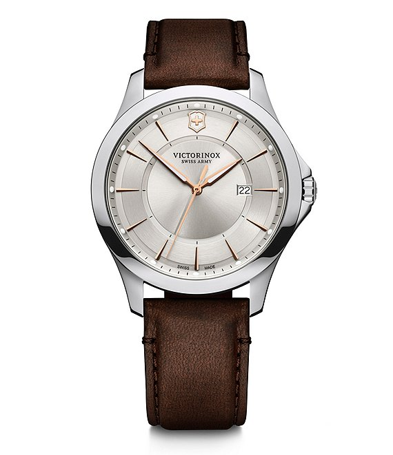 Color:Silver - Image 1 - Alliance Large Brown Leather Watch