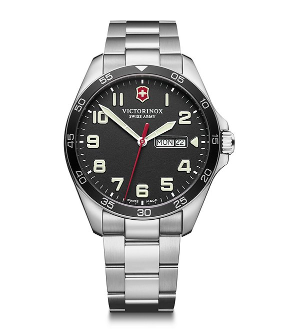 Victorinox Swiss Army Field Force Stainless Steel Black Dial Bracelet Watch