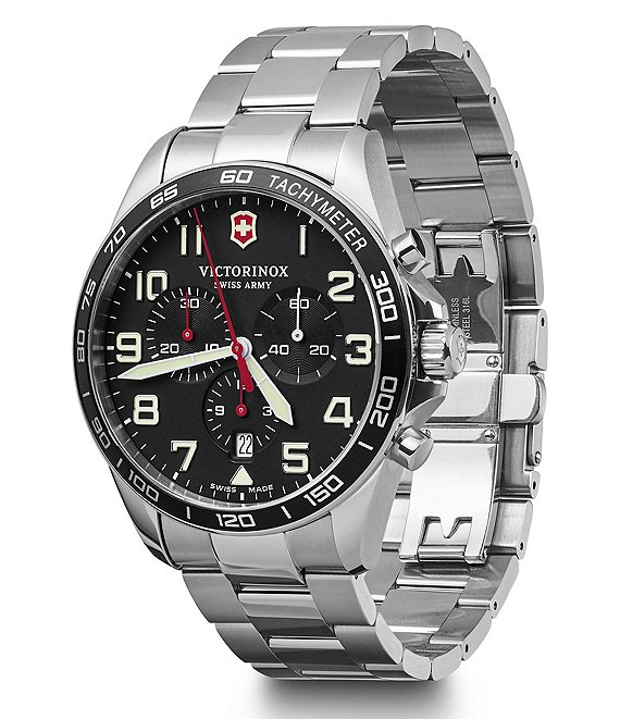 Color:Black - Image 1 - Field Force Stainless Steel Chronograph Bracelet Watch