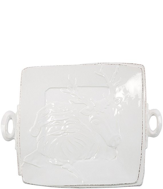 Color:White - Image 1 - Lastra Winterland Handled Square Platter