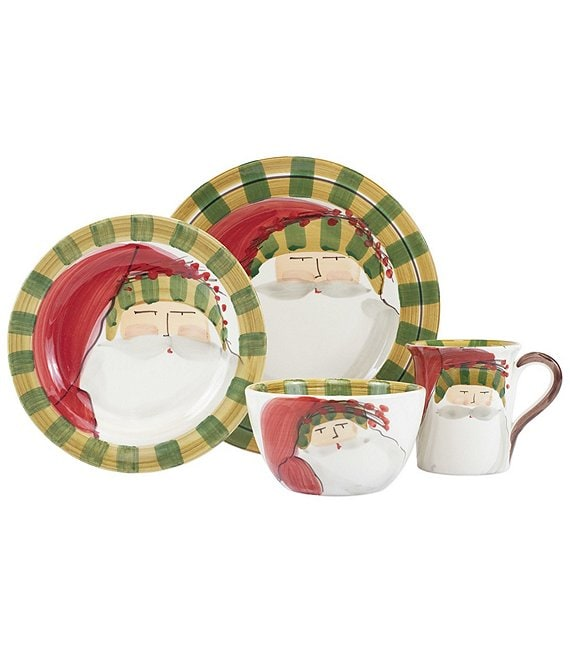 VIETRI Old St. Nick Striped Hat 4-Piece Place Setting