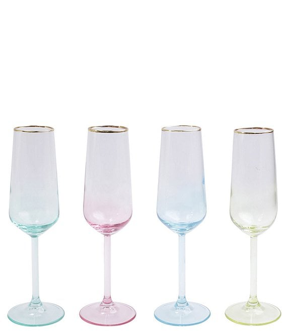 VIETRI Rainbow Assorted Champagne Flutes Set of 4