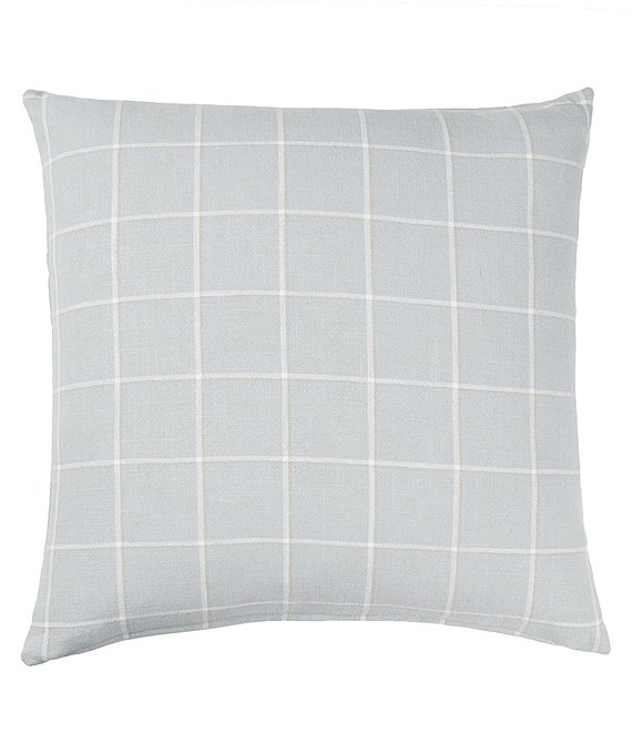 Color:Blue - Image 1 - Westport Plaid Linen Filled Euro Sham