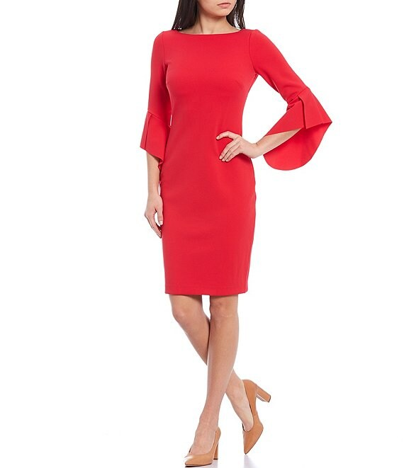 Color:Cherry - Image 1 - Asymmetrical 3/4 Sleeve Crepe Sheath Dress