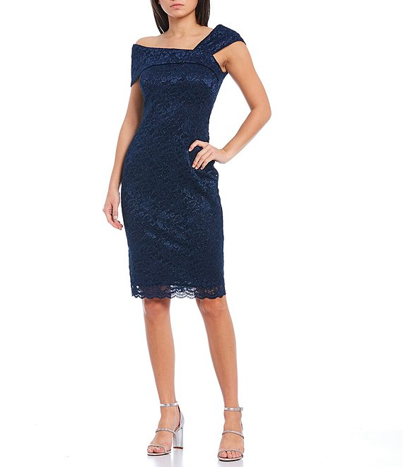 Color:Navy - Image 1 - Asymmetrical One-Shoulder Short Sleeve Lace Sheath Dress
