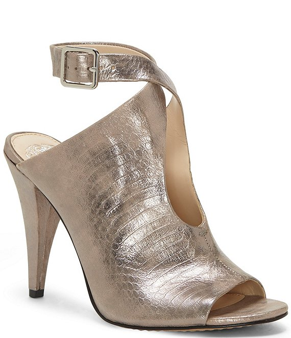 Color:Pewter - Image 1 - Aveeria Tear Drop Metallic Leather Snake Print Cone Heel Peep Toe Shooties