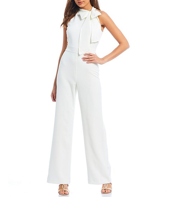 Color:Ivory - Image 1 - Sleeveless Bow Neck Jumpsuit with Pockets