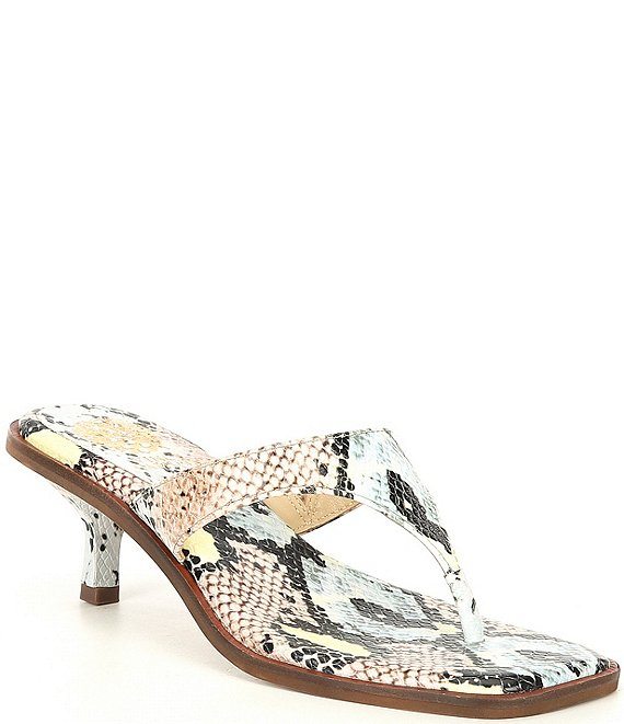 Color:Pastel Multi - Image 1 - Cannetta Snake Print Leather Thong Dress Sandals