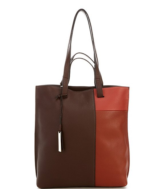 Color:Red Mahogany - Image 1 - Casia Colorblocked Leather Snap Tote Bag