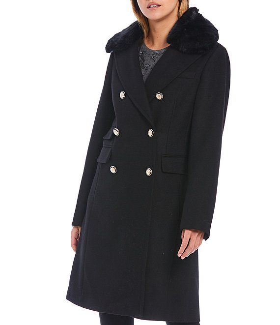 Color:Black - Image 1 - Double Breasted Faux Fur Collar Wool Blend Coat