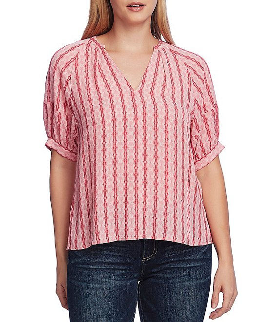 Vince Camuto Elbow Length Bubble Sleeve Split Round Neckline Top