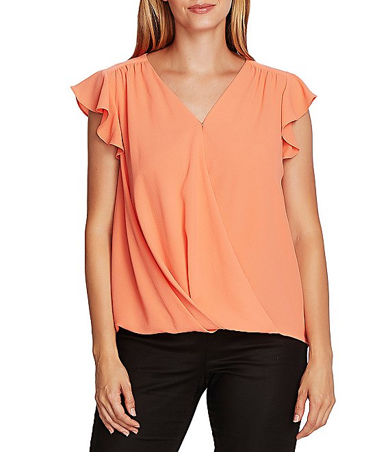 Color:Bright Coral - Image 1 - Flutter Sleeve V-Neck Wrap Front Blouse