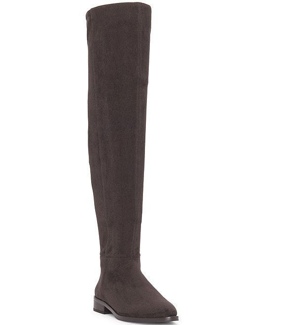Color:Dark Slate - Image 1 - Hailie Over-the-Knee Microsuede Block Heel Boots