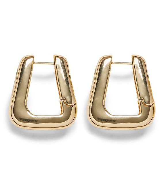 Color:Gold - Image 1 - Hinge Trapezoid Hoop Earrings