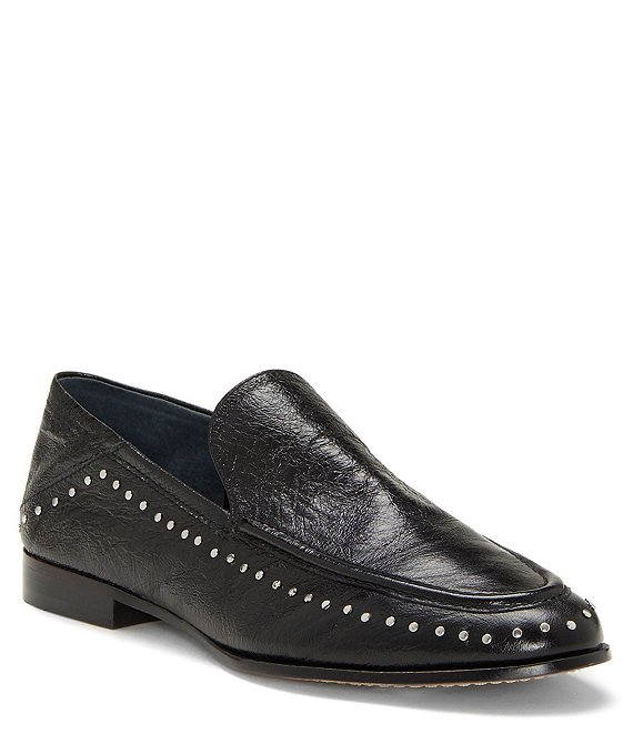 Color:Black - Image 1 - Jendeya Leather Studded Convertible Loafers