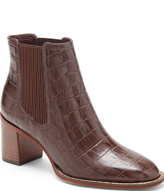 Color:Brown - Image 1 - Jentilly Croco Embossed Leather Block Heel Chelsea Booties