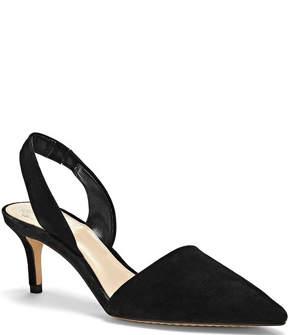Color:Black - Image 1 - Kolissa Suede Slingback Dress Pumps