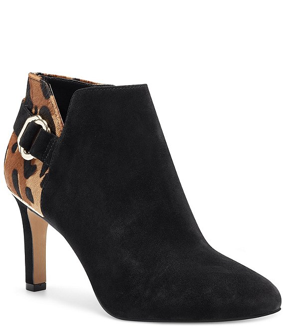 Color:Black/Natural Multi - Image 1 - Leeva3 Suede and Animal Print Haircalf Booties