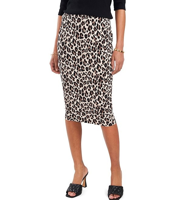 Color:Rich Black - Image 1 - Leopard Print Pull-On Midi Pencil Skirt