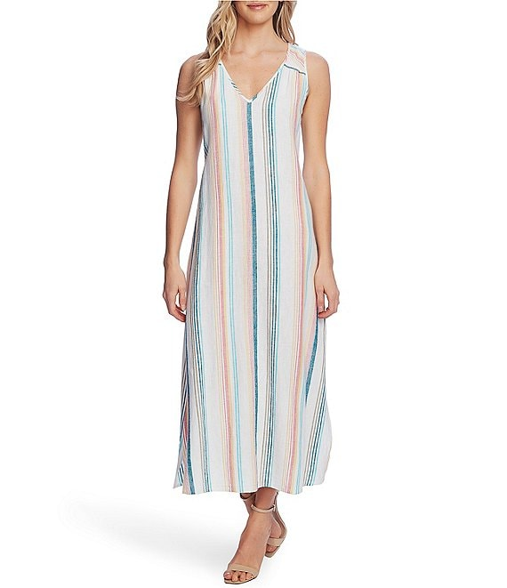 Color:Ocean Wave - Image 1 - Linen Blend Stripe Midi Dress