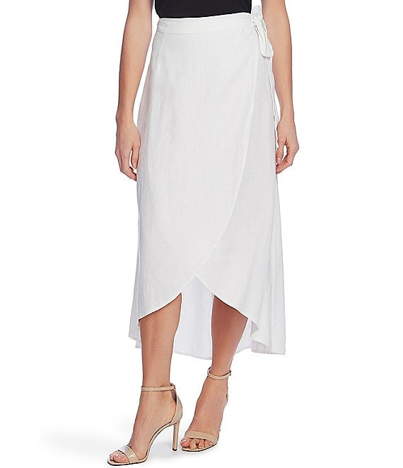 Color:Ultra White - Image 1 - Linen Wrap Midi Skirt