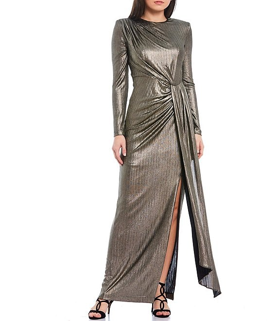 Color:Gold - Image 1 - Long Sleeve Gathered Waist Metallic Gown