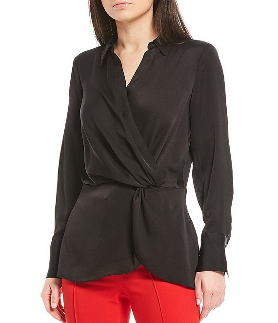 Color:Rich Black - Image 1 - Long Sleeve Hammered Satin Peplum Wrap Blouse