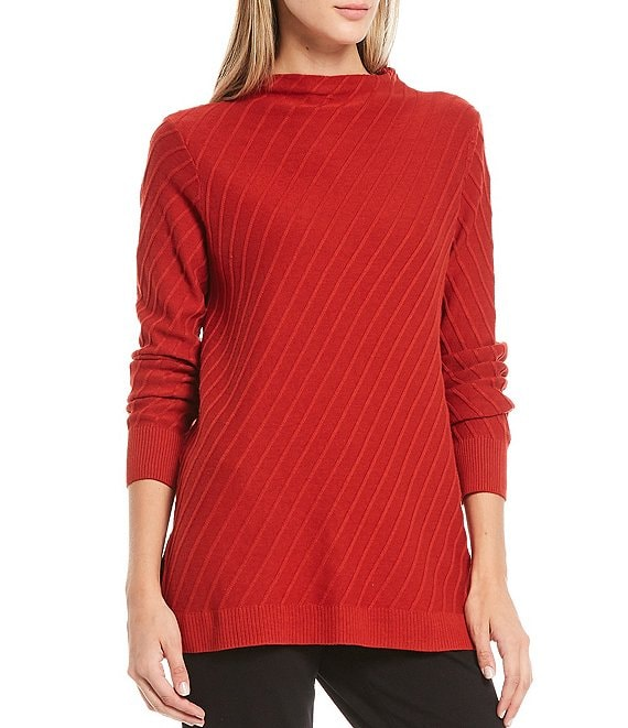 Color:Burnt Copper - Image 1 - Long Sleeve Mock Neck Textured Sweater