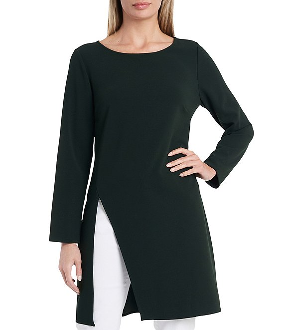 Color:Dark Willow - Image 1 - Long Sleeve Side Slit Ponte Tunic