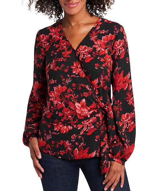 Vince Camuto Long Sleeve Wrap Front Floral Tie Side Blouse