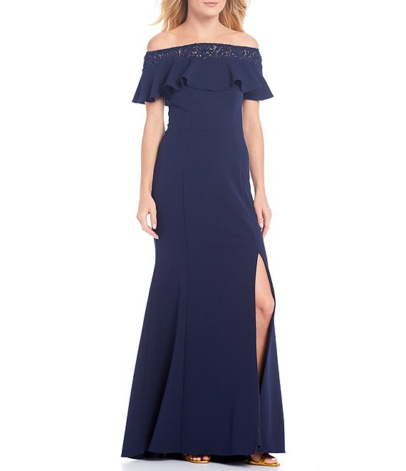 Color:Navy - Image 1 - Off-the-Shoulder Lace Sequin Trim Ruffle Side Slit Gown