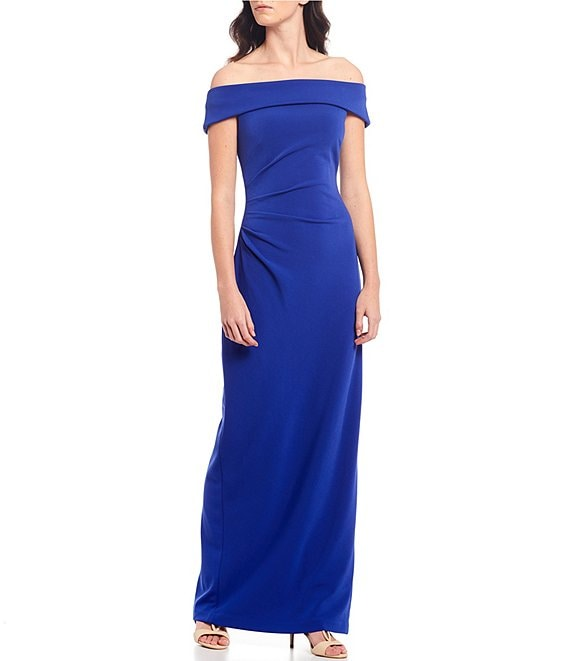 Color:Royal Blue - Image 1 - Off-the-Shoulder Ruched Gown